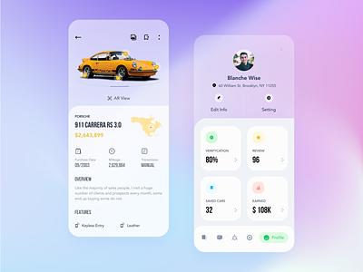 Car Marketplace - App Concept ui kit design ar app detail profile market car market car app 3d isometric isometry minimal minimalist ux  ui uidesign ui