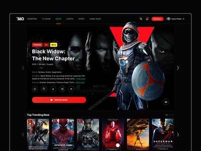 TV360 - Movie Detail trending tmrw webapp minimal creative wonderwoman ironman batman spiderman superman dccomics superheros film webdesign ux tv