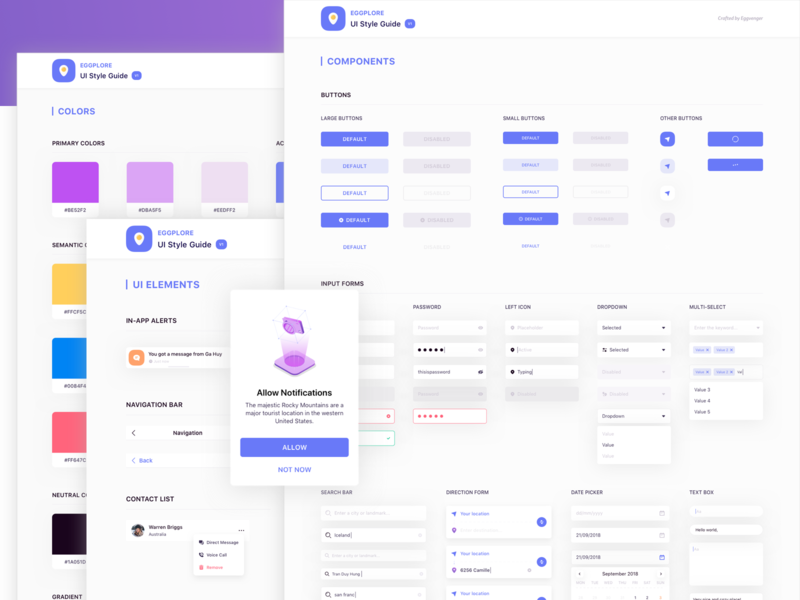 Eggplore UI StyleGuide - Freebie 🤯 guide illustration typography library component library symbol nested free figma free sketch freebie free ui kit travel ar reality argument ui design system guidelines styleguide