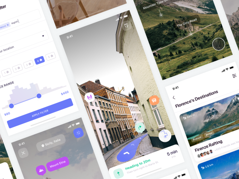 Eggplore UI Kit - Preview ui8 ui kit navigation map location guide illustration free sketch direction destination travel reality argument ar