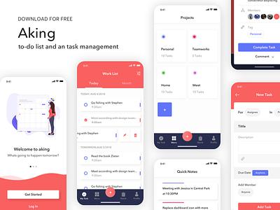 Aking to-do list app UI Kit - Freebie freebies task management design uikits to do app to do list sketh uidesign freebie free ui