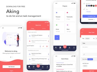 Aking to-do list app UI Kit - Freebie