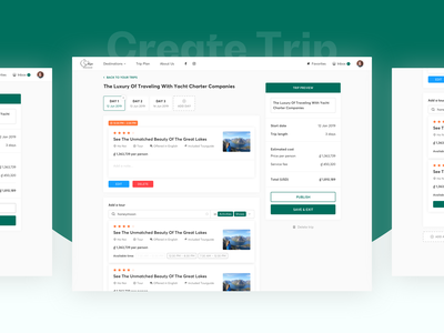sDiscovery - Create Trip Flow product uxdesign uidesign ux flow destination guide touring tour planning create trip planner trip web design map ui travel