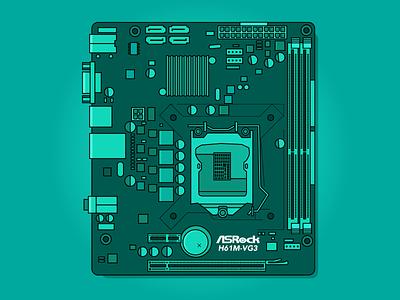 AsRock H61M-VG3 pc gaming design art graphic design vector illustration vector sticker design flat  design illustration art design illustration