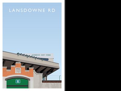 Lansdowne Road Stadium irish ireland dublin sport illustrator illustration graphic design design rugby soccer stadia stadium football