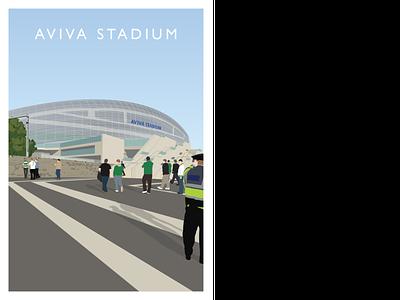 Aviva Stadium redesign soccer rugby irish stadium sport ireland illustrator illustration graphic design dublin football design