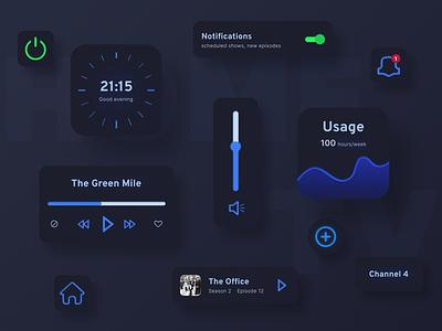 UI Elements For TV App ui design movie app movies ux icon typography design figma uiux interface app tv icons ui home