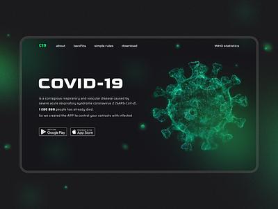 C19 Covid-19 tracking app Landing app uiux typography design figma concept ui landing coronavirus covid covid-19