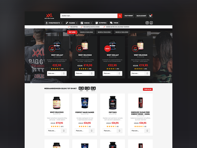 XXL Nutrition red. strong clean weights fitness bodybuilding protein supplements