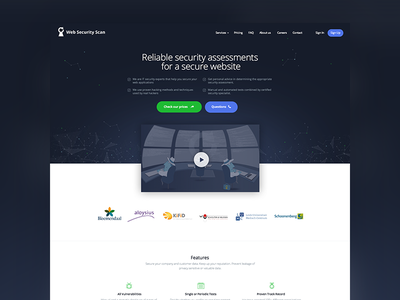 Web Security Company green purple blue landing page scans security
