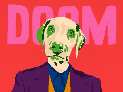 Doom dog illustration portrait design portrait art sketch portrait doodle design art bright colours bright illustration