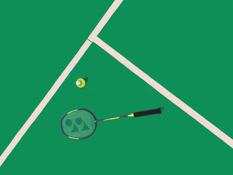 playtime bright badmintoncourt sports design doodle art design illustration badminton yonex