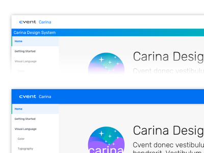 Doc Site UI Bar Exploration nav element navigation top bar bar guide cvent carina design system ux ui