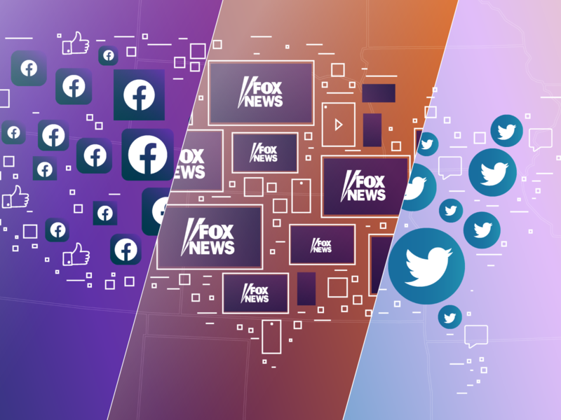 Media Consumption Stories 2019 - Morning Consult gradients fox-news twitter facebook cover editorial media usa maps design illustration morning-consult