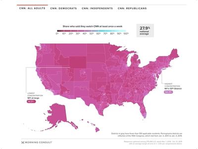 Media Consumption Interactive Maps web interactive twitter facebook msnbc cnn fox-news news morning-consult media us maps data visualization dataviz