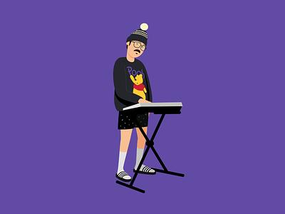 Pensandro • Tecladista pooh purple musician vector illustration vector illustration