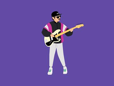 Pensandro • Baixista supreme musician vector purple illustration