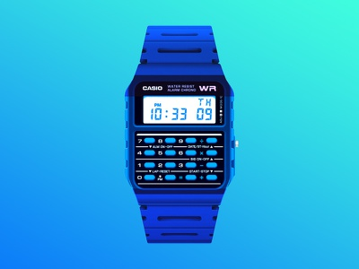 Casio illustration gradient blue watches casio