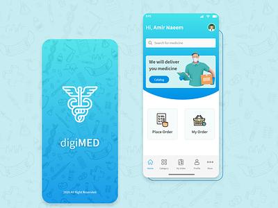 Medicine Delivery App - UX/UI Design | DigiMED dashboard ui homepage ui splash screen ui design xd design delivery app mobileapp
