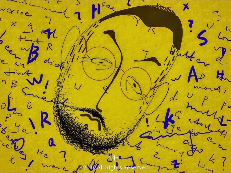 记小胡子的第一节英语课 art editorial character drawing painting illustration