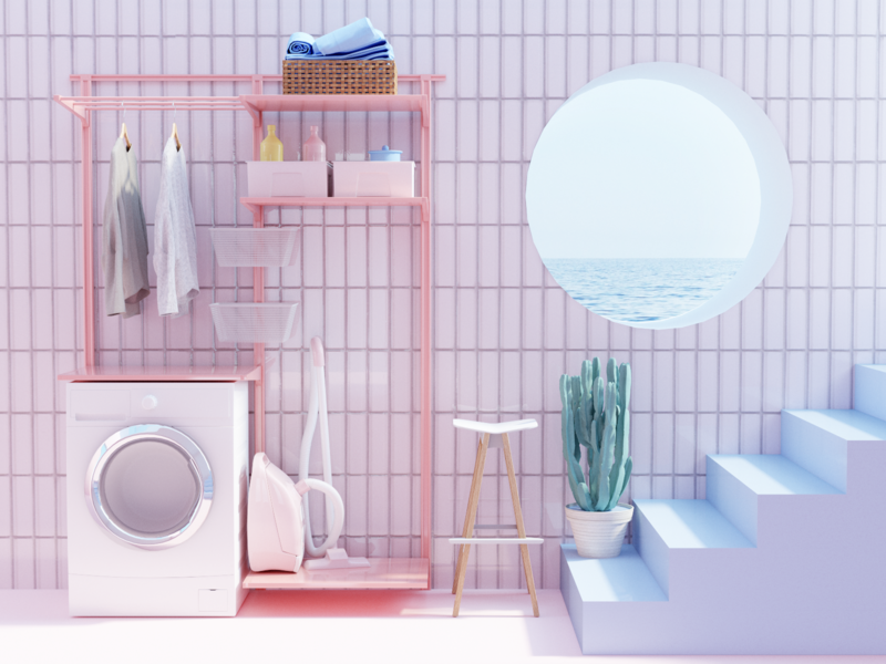 Laundry room interior architecture ui designer design illustration 3d