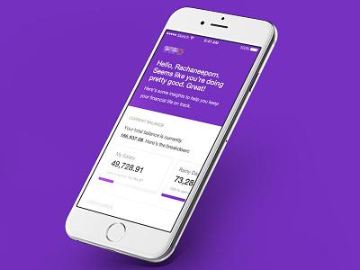 Banking Homescreen balance purple type minimalist banking