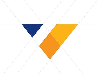"""V"" logo triangle golden ratio blue yellow v branding logo"