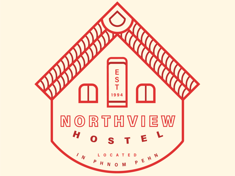 Hostel Identity Logo color red design logo international travel cambodia typography illustration