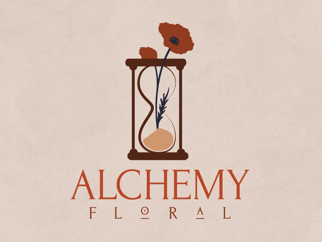 Alchemy Floral Logo logo design vector illustration vector vase illustrator icon hourglass florals floral design floral design color chemical branding alchemy typography red logo illustration