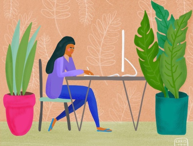 WFH Plants tropical editorial illustration editorial character work from home wfh office plants illustration digital colorful