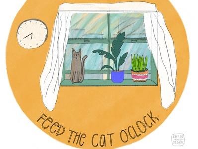 Feed the cat o'clock home window kids lettering hand lettering handlettering kitten kitty texture illustration drawing character spot illustration editorial cat