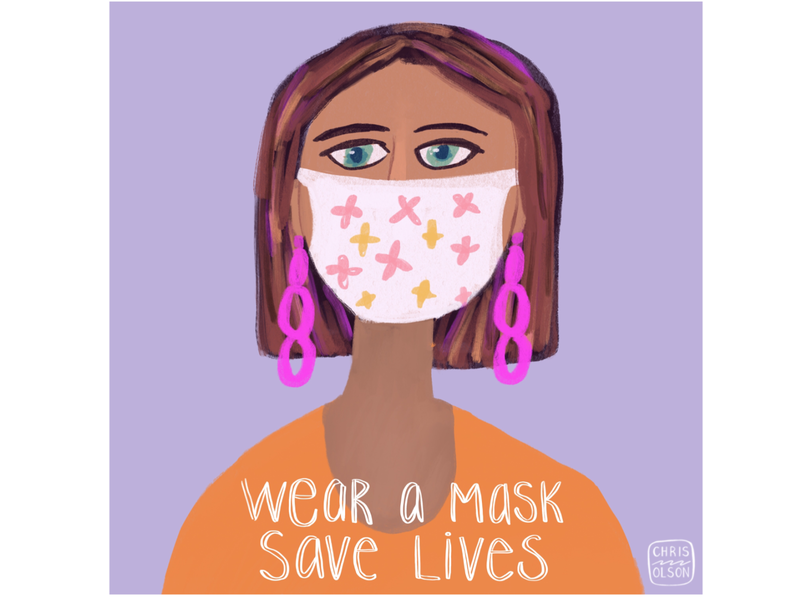 Be smart. Be kind. Wear a mask. editorial illustration editorial art procreate hand lettering handlettering characterdesign