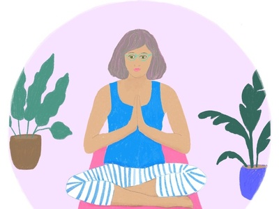 Sanity saver: I need yoga now more than ever editorial illustration illustration workfromhome botanical yoga pose woman illustration editorial editorial art characterdesign