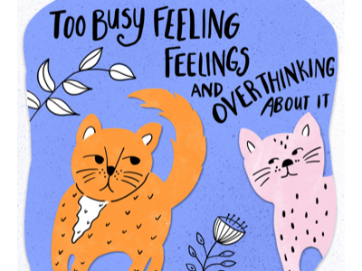 Felines feeling feelings kid literature character lettering stationery greeting card animals cats