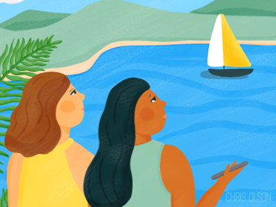 Summer vacation vacation tropical character travel editorial illustration