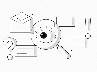 User research and recruiting illustration noise texture black and white magnifying glass eye illustration uxr ux research recruiting user research