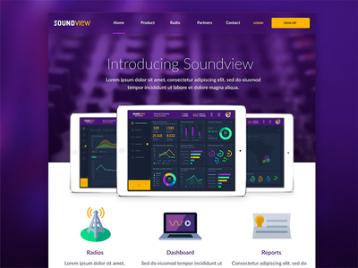 Soundview Webiste user-interface visual design landing page dashboard music web app one page scroll microsite