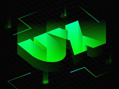 UX Grid gradient tron grid 3d isometric