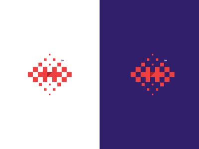 Hexel logo lettermark flat icon illustration modern hexels hex pattern h logo h letter colorful pixel branding mark logo