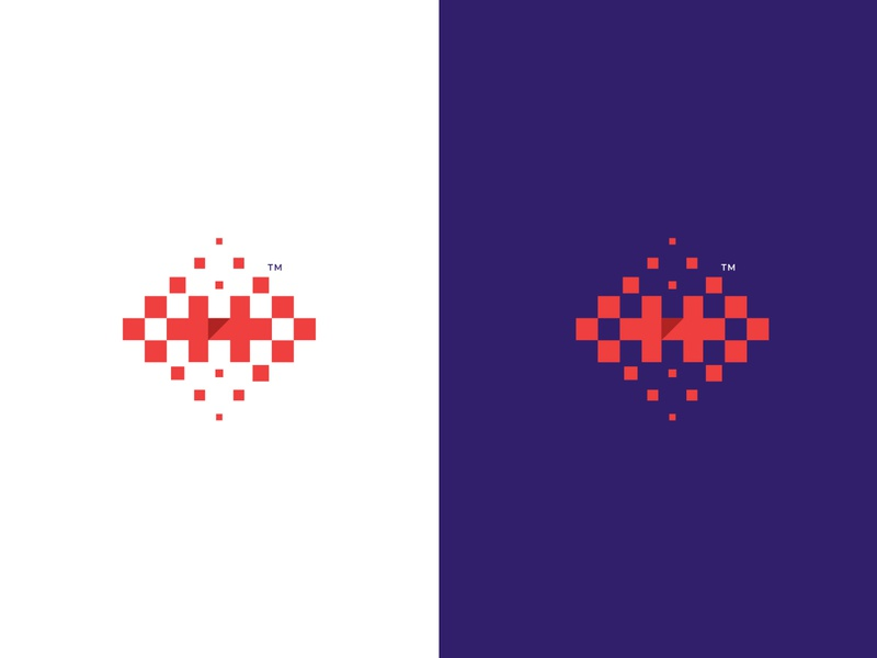 Hexel logo op.1 lettermark flat icon illustration modern hexels hex pattern h logo h letter colorful pixel branding mark logo