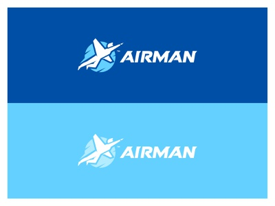 Airman logo op.2 sky activities aircraft tours logo design clever smart creative icon icons symbol brand branding identity vibrant negative space typography sky man fly typogaphy illustration mark modern icon logo