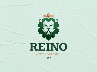 Reino Logo lion logo fashion luxury emblem foundation green gold empire royal kingdom lion logo branding mark