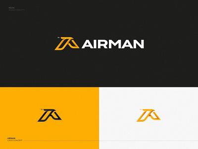 Airman logo air flight flight fly lettermark letter a logo logomark bold strong eagle falcon bird mark travel tours aircraft air activities
