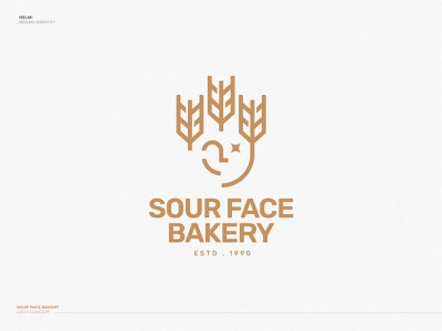 Sour Face Bakery - Logo star wheat gold bold emblem icon branding logo mark face sour bakery