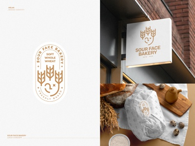 Sour Face Bakery - Logo label star wheat gold emblem bold icon mark branding logo face sour bakery