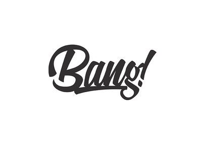 Bang! bang brush script retro black white