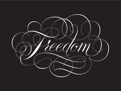 Let Freedom Ring lettering handlettering freedom script flourish copperplate cursive doyaldyoung black white mlk