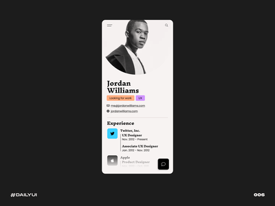 User Profile black job resume challenge dailyui