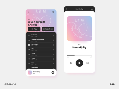 Music player mobile black bts player music challenge dailyui