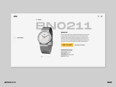 Watch product page product braun watch ecommerce challenge dailyui